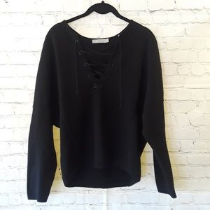 Vince lace-up Merino wool & Cashmere sweater